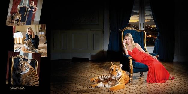Con la tigresa Noa de Faunia, para el catálogo benéfico de Chocrón joyeros.